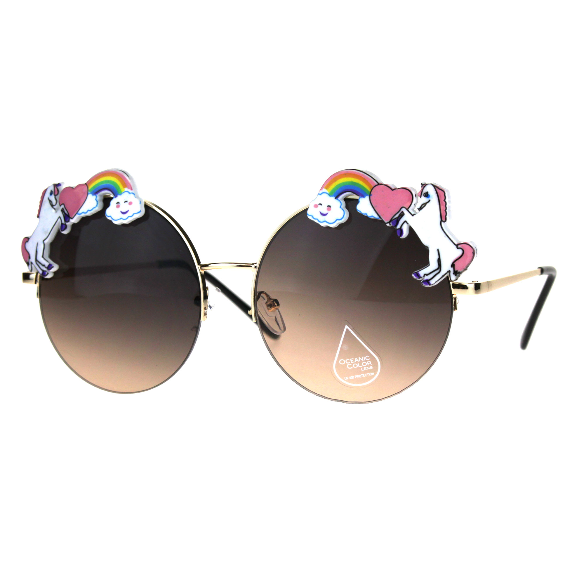 5fee802878 Unicorn Rainbow Metal Badge Round Circle Lens Hippie Sunglasses