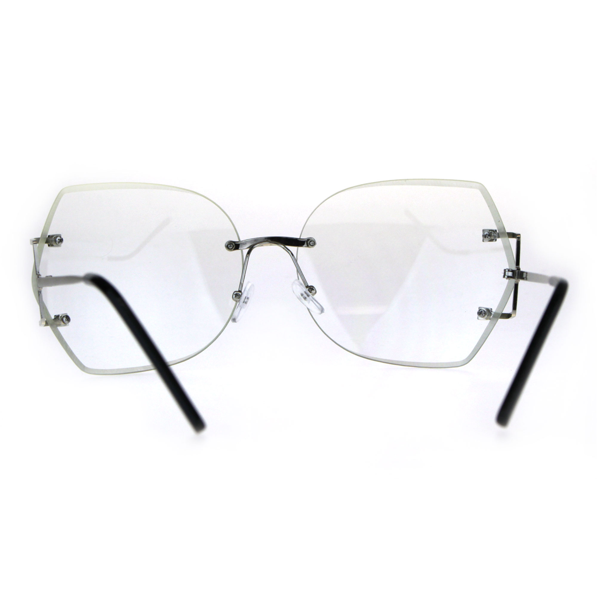 47bb11a10a Womens Clear Lens Butterfly Rimless Ironic Granny Eye Glasses