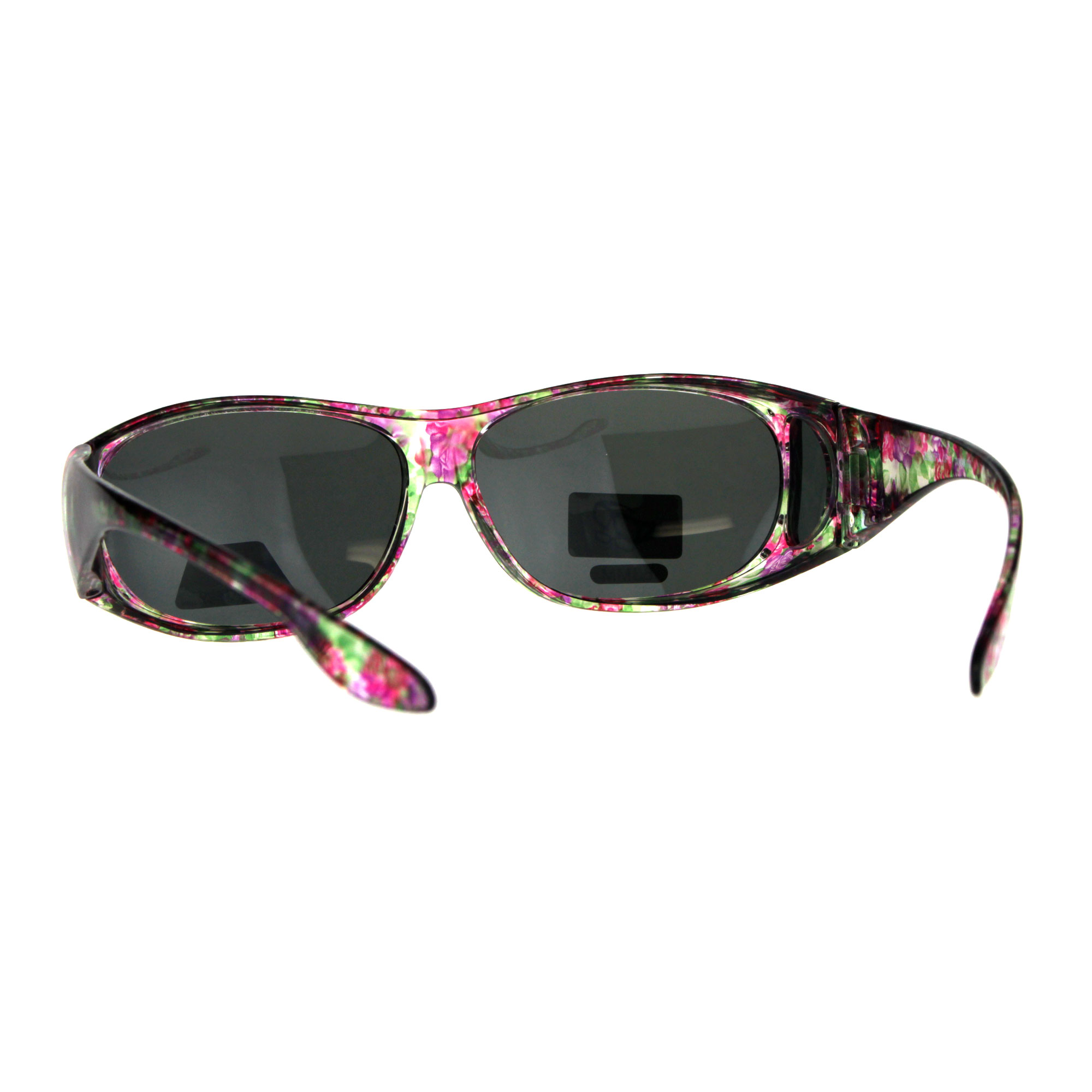 9c767d257e6 Polarized Womens Rhinestone Bling Fit Over Floral Print 63mm ...
